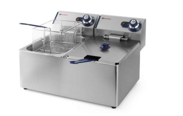 Fritéza Hendi BLUE LINE 2x4L Tento model je určený pre menšie prevádzky, reštaurácie či bufety. Rad fritéz Blue Line značky HENDI 205846 s kapacitou 2 x 4 l.