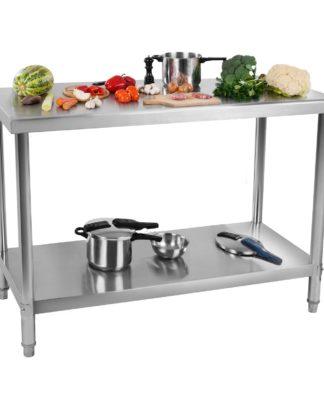 Nerezový pracovný stôl 120 x 60 cm 1