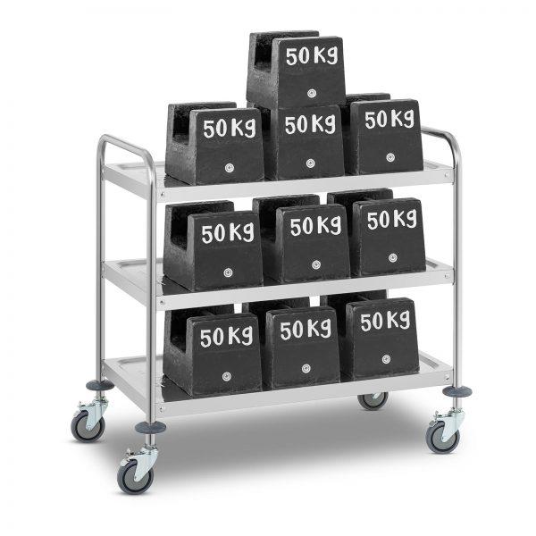 Servírovací vozík - 3 odkladacie plochy - RCSW-3R | 480 kg, z tvrdenej ušľachtilej ocele, 3 odkladacie plochy, kruhový prierez vysokou stabilitou.