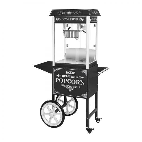 Stroj na popcorn vrátane vozíka - RETRO dizajn (čierny) - RCPW.16.2 - 1