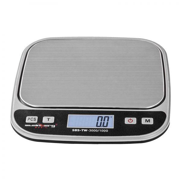 Digitálne stolné váhy - 3 kg0,1 g - SBS-TW-3000100G (3144) 1 rozsah váženia až do 3 kg presnosť na 0,1 g plošina na váženie z ušľachtilej ocele LCD displej predkalibrované