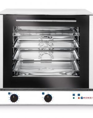 Elektrická teplovzdusna pec Hendi 225172 jeden nereverzný ventilátor telo a komora vyrobená z nerezovej oceli dvojvrstvové sklenené dvere 4x plechy 429x345mm sú súčasťou zariadenia rozostup vsuvov: 74 mm teplotný rozsah50- 300°C