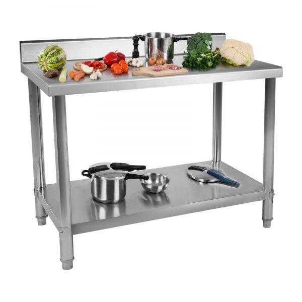Nerezový pracovný stôl - 120 x 70 cm - so zadným lemom - 1