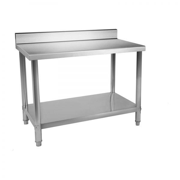 Nerezový pracovný stôl - 120 x 70 cm - so zadným lemom - 2