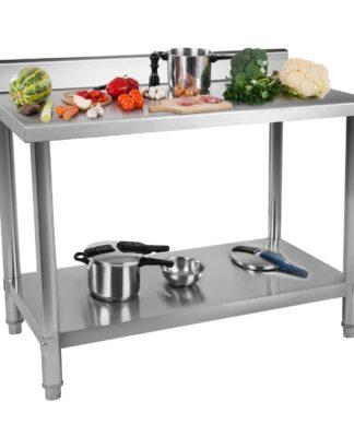 Nerezový pracovný stôl - 150 x 60 cm - so zadným lemom - 1