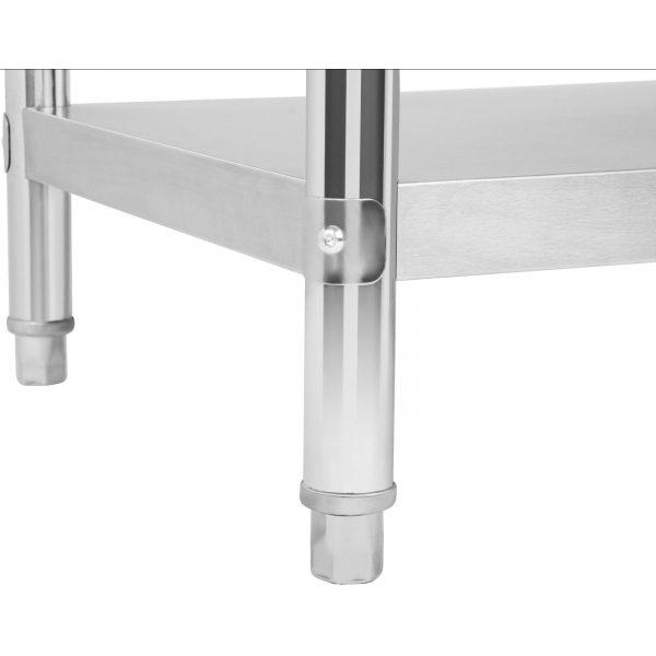 Nerezový pracovný stôl - 150 x 60 cm - so zadným lemom - 5