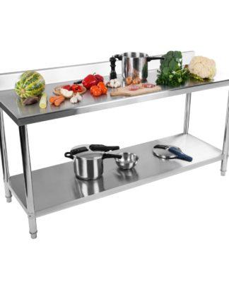 Nerezový pracovný stôl - 180 x 60 cm - so zadným lemom - 1