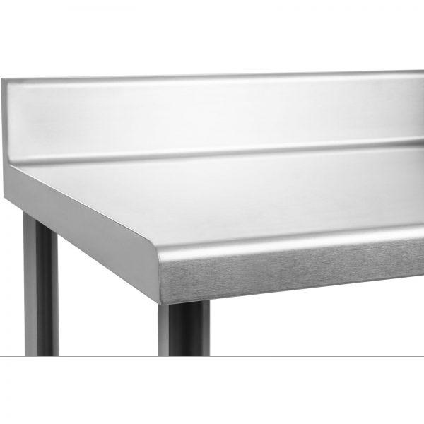 Nerezový pracovný stôl - 180 x 60 cm - so zadným lemom - 4