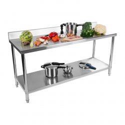 Nerezový pracovný stôl - 200 x 60 cm - so zadným lemom - 1