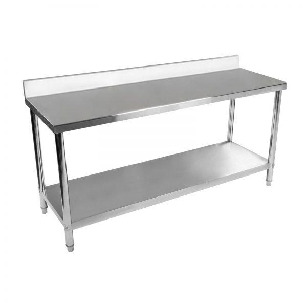 Nerezový pracovný stôl - 200 x 60 cm - so zadným lemom - 2