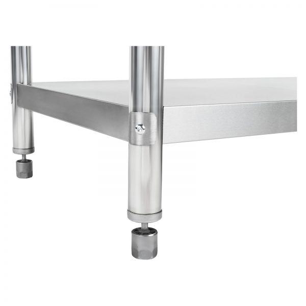 Nerezový pracovný stôl - 200 x 60 cm - so zadným lemom - 5