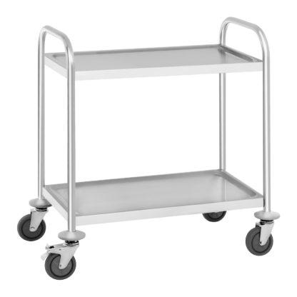 Servírovací vozík - 2 police - do 150 kg 1 Nosnosť jednej police: 75 kg Vzdialenosť medzi policami: 45,5 cm Rozmery police: 68 x 38 x 0,3 cm Ochrana proti nárazu Kolesá zabranujúce vibráciám
