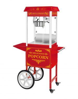 Stroj na popcorn vrátane vozíka - retro dizajn - červený - 1