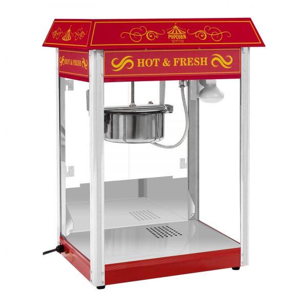 Stroj na popcorn vrátane vozíka - retro dizajn - červený - 2