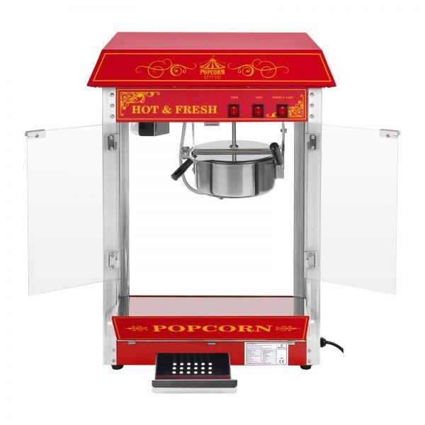 Stroj na popcorn vrátane vozíka - retro dizajn - červený - 4