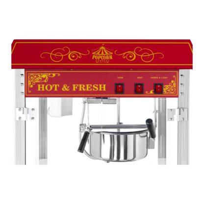 Stroj na popcorn vrátane vozíka - retro dizajn - červený - 7