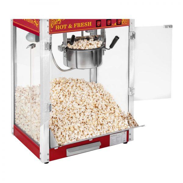 Stroj na popcorn vrátane vozíka - retro dizajn - červený - 9