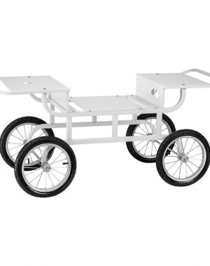 Vozík na stroj na cukrovú vatu - 4 kolieska - biely - 1