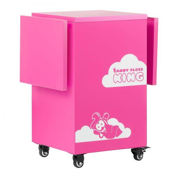 Vozík na stroj na cukrovú vatu - ružový - so skrinkou - 3Vozík na stroj na cukrovú vatu - ružový - so skrinkou - 3