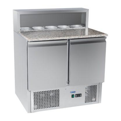 Chladiaci pizza stôl - 90 x 70 cm - žulová pracovná doska - 2.0 Rozmery: 70 x 90 x 110 cm Výkon: 250 wattů Kapacita: 300 litrů Na päť gastronádob GN 1/6