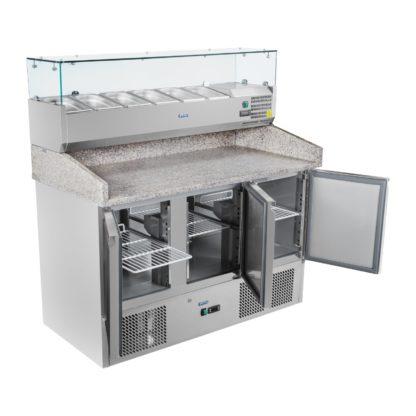 Chladiaci pizza stôl - 140 x 70 cm - žulová pracovná doska s chladiacim nadstavcom 2