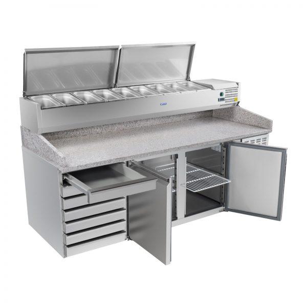Chladiaci pizza stôl - 202 x 80 cm - žulová pracovná doska s chladiacim nadstavcom 2