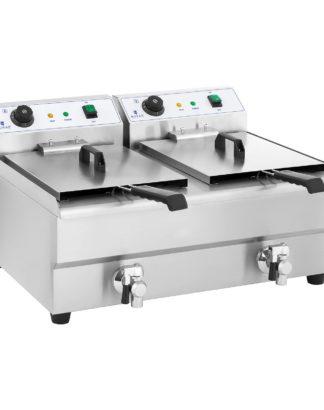 Dvojitá elektrická fritéza - 2 x 16 litrov s vypúšťacím kohútom - 1