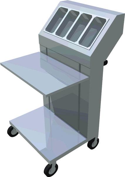 Polohovateľný vozík na podnosy a príbory T-NVNT-2 - 1