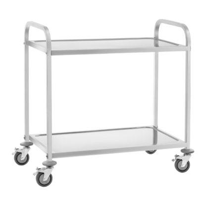 Servírovací vozík z ušľachtilej ocele - 2 police - do 160 kg - 2 brzdy - 1