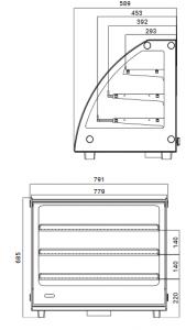 Teplá vitrína pultová RTR 130L-2 - 1