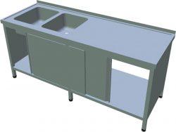 Umývací stôl s krytovaním dlhý T-AUSDV-2S - 1