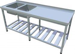 Umývací stôl s roštovou policou dlhý T-AUSRV-2 - 1