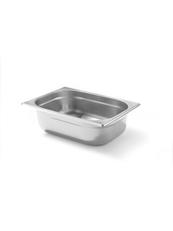 Gastronádoba GN 1/2, 100mm je vyrobená z nehrdzavejúcej ocele. Pevná konštrukcia, možnosť stohovania, jemné okraje.