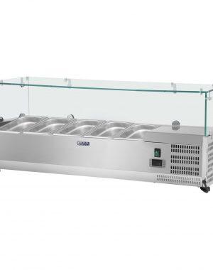 Chladiaca nadstavba - 120 x 33 cm - 5 GN nádob 14 - sklenený zákryt - 1