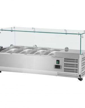Chladiaca nadstavba- 120 x 39 cm - 4 GN nádoby 13 - sklenený zákryt - 1