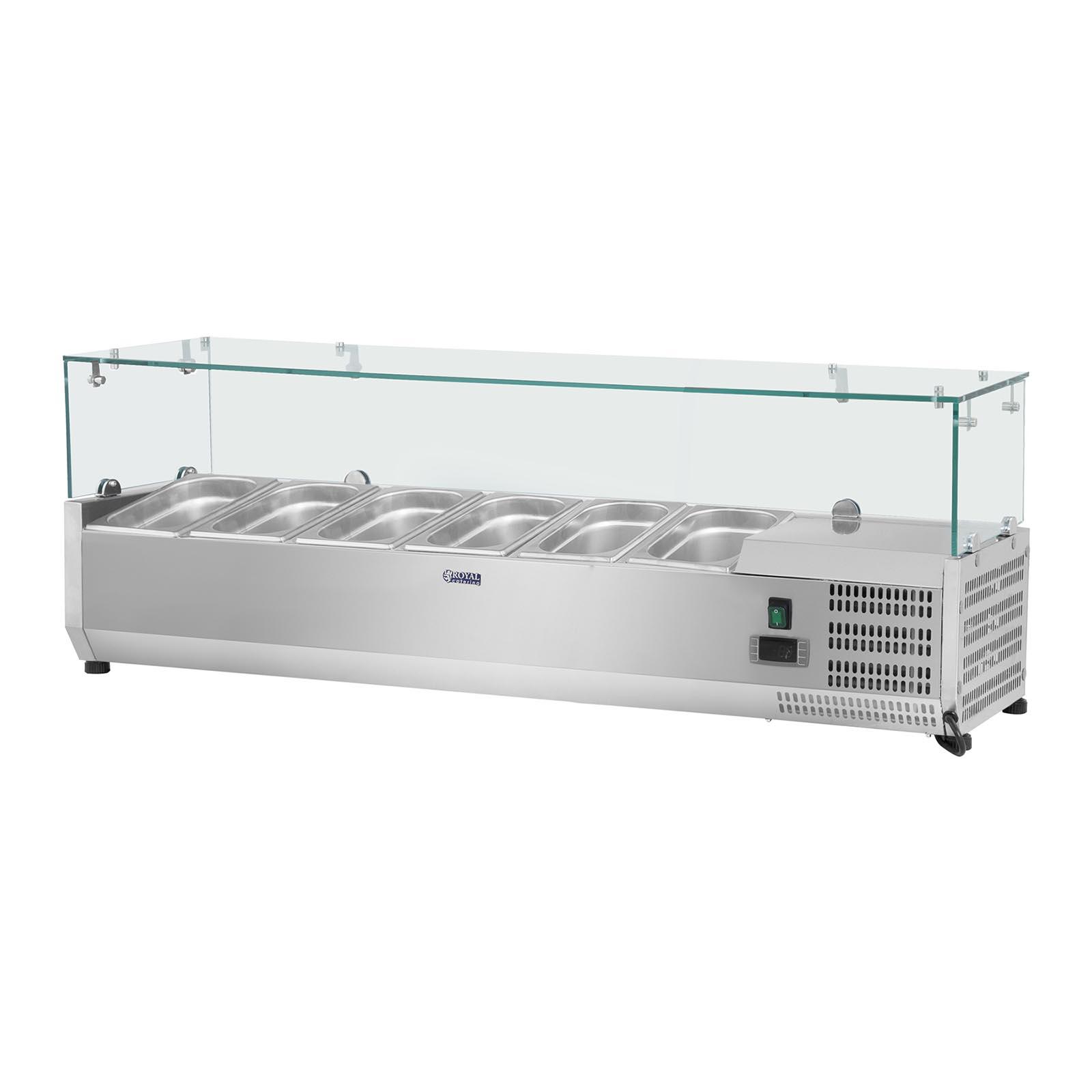 Chladiaca nadstavba - 140 x 33 cm - 6 GN nádob 14 - sklenený zákryt - 1