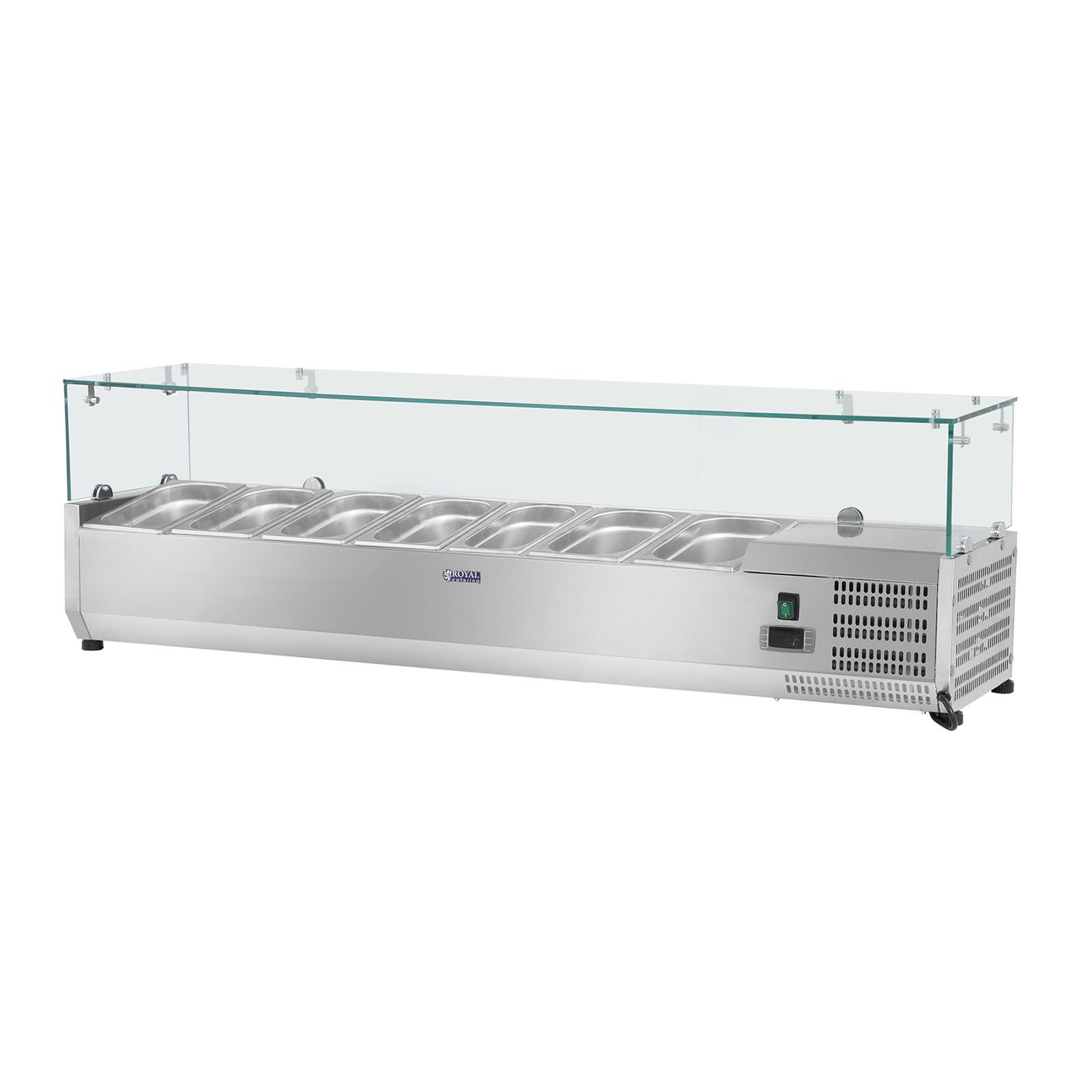Chladiaca nadstavba - 150 x 33 cm - 7 GN nádob 14 - sklenený zákryt - 1