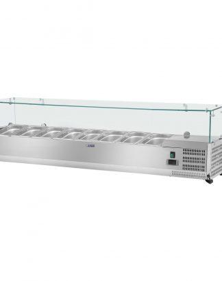 Chladiaca nadstavba - 160 x 33 cm - 8 GN nádob 14 - sklenený zákryt - 1