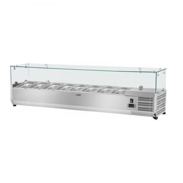 Chladiaca nadstavba- 180 x 39 cm - 8 GN nádob 13 - sklenený zákryt - 1