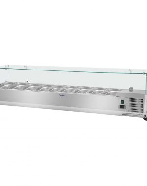 Chladiaca nadstavba- 200 x 39 cm - 9 GN nádob 13 - sklenený zákryt - 1