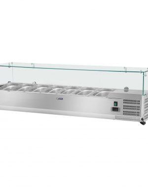 Chladiace nadstavba- 160 x 39 cm - 7 GN nádob 13 - sklenený zákryt - 1