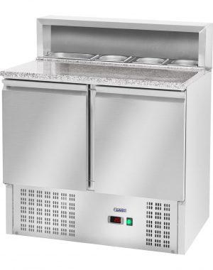 Chladiaci pizza stôl - 240 l - žulová pracovná doska - 2 dvere - 1