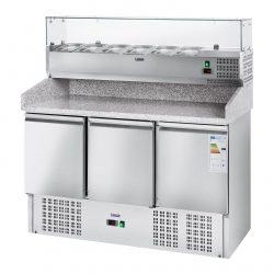 Chladiaci pizza stôl - 411 l - žulová pracovná doska - 3 dvere - 1