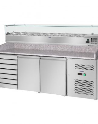 Chladiaci pizza stôl - 702 l - žulová pracovná doska - 2 dvere - 1