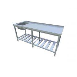 Umývací stôl s roštovou policou dlhý T-AUSRV-1