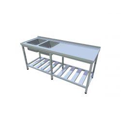 Umývací stôl s roštovou policou dlhý T-AUSRV-2