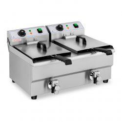 Elektrická fritéza - 2 x 10 litrov - vypúšťacie kohúty - 230 V - 1