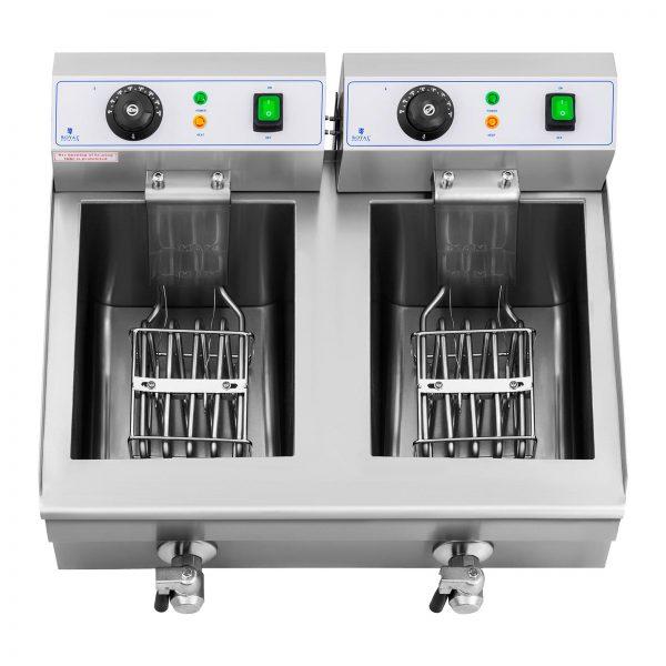 Elektrická fritéza - 2 x 10 litrov - vypúšťacie kohúty - 230 V - 2