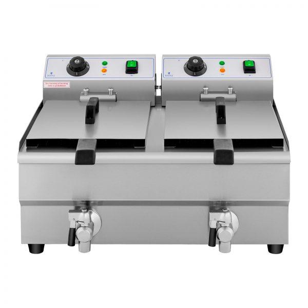 Elektrická fritéza - 2 x 10 litrov - vypúšťacie kohúty - 230 V - 4