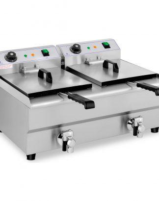 Elektrická fritéza - 2 x 13 litrov - vypúšťacie kohúty - 230 V -1